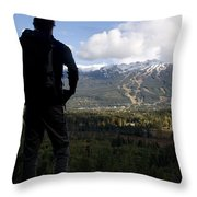 A Man Admires The View Over The Valley Throw Pillow
