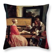 A Man And A Woman Seated By A Virginal Throw Pillow