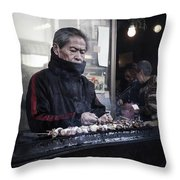 A Man And His Grill Throw Pillow
