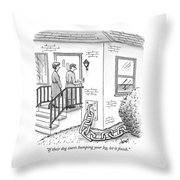 A Man And Woman Ring The Bell Of A House Throw Pillow