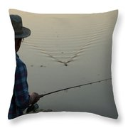 A Man Fishes For Largemouth Bass Throw Pillow