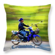 Heading To Work In Rural Thailand. Throw Pillow