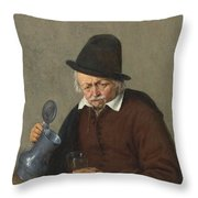 A Man Holding A Tankard And A Glass Throw Pillow