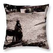 A Man With His Bride 1900s Throw Pillow