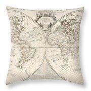 A Map Of The World Throw Pillow by John Senex