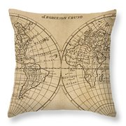 A Map Of The World With The Voyage Of Robinson Crusoe Throw Pillow