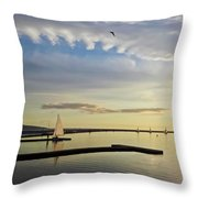 A Marine Lake At Dusk, West Kirby Throw Pillow
