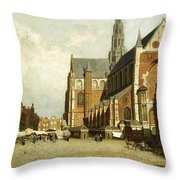 A Market By The St. Bavo Church Throw Pillow