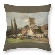 A Market Scene Throw Pillow