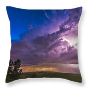 A Massive Thunderstorm Lit Internally Throw Pillow