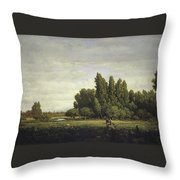 A Meadow Bordered By Trees Throw Pillow