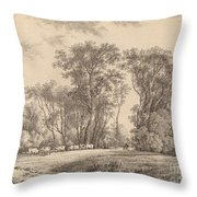 A Meadow With Cattle At The Edge Of A Wood Throw Pillow