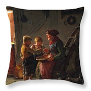 A Meal. Two Boys And A Grandmother Tasting The Potato Soup Throw Pillow