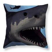 A Megalodon Shark From The Cenozoic Era Throw Pillow