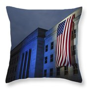 A Memorial Flag Is Illuminated On The Throw Pillow