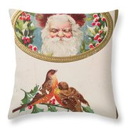 A Merry Christmas From Santa Claus Vintage Greeting Card With Robins Throw Pillow