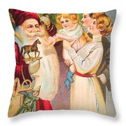 A Merry Christmas Vintage Card Santa And A Family Throw Pillow