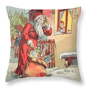 A Merry Christmas Vintage Greetings From Santa Claus And His Gifts Throw Pillow