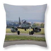A Messerschmitt Me-262 Replica Taxiing Throw Pillow