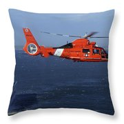 A Mh-65c Dolphin Helicopter Throw Pillow