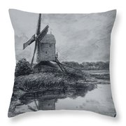 A Mill On The Banks Of The River Stour Charcoal On Paper Throw Pillow