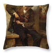 A Ministrel With A Wine Glass In A Tavern Throw Pillow