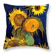 A Modern Look At Vincent's Vase With 5 Sunflowers Throw Pillow