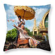 A Monk Ordination Festival Throw Pillow
