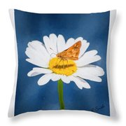 A Moth Collects Pollen On A Single Daisy Blossom. Throw Pillow