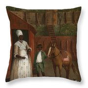 A Mother With Her Son And A Pony Throw Pillow