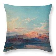 A Mountain Lake At Sunset Throw Pillow