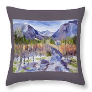 A Mountain Road Throw Pillow