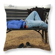 A Nap In The Park Throw Pillow