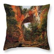 A Natural Bridge In Virginia Throw Pillow by David Johnson