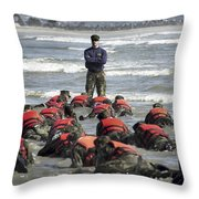 A Navy Seal Instructor Assists Students Throw Pillow