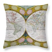 A New And Correct Map Of The World Throw Pillow by Robert Wilkinson