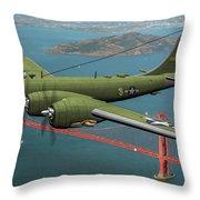 A New Kind Of Bird Over California - Oil Throw Pillow