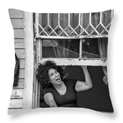 A New Orleans Greeting Bw Throw Pillow