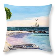 A Nice Day At The Beach Throw Pillow