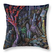 A Night In A Bunny Cemetery Throw Pillow