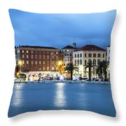 A Night View Of Split Old Town Waterfront In Croatia Throw Pillow