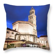 A Night View Of The Cathedral Of Saint Domnius In Split Throw Pillow