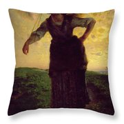 A Norman Milkmaid At Greville Throw Pillow