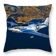 A North American P-51d Mustang Flying Throw Pillow