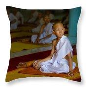 A Novice Monk In Rural Thailand Throw Pillow