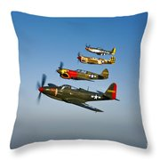 A P-36 Kingcobra, Two Curtiss P-40n Throw Pillow