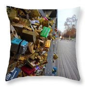 A Padlock Filled Bridge In Paris Throw Pillow