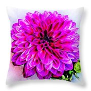 A Painted Dahlia Throw Pillow