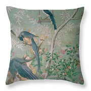 A Pair Of Magpie Jays  Vintage Wallpaper Throw Pillow