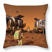 A Pair Of Manned Mars Rovers Rendezvous Throw Pillow
